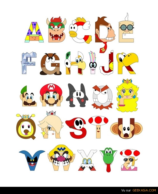L'alphabet de Super Mario Bros par Mike Boon